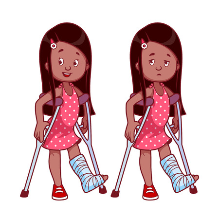Cheerful and sad girl with a broken leg in a cast. Vector illustration on a white background. Illustration