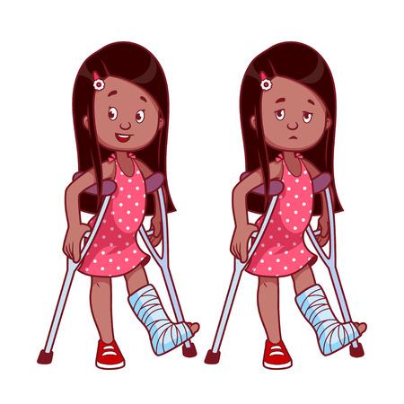 Vrolijk en verdrietig meisje met een gebroken been in het gips. Vector illustratie op een witte achtergrond. Vector Illustratie