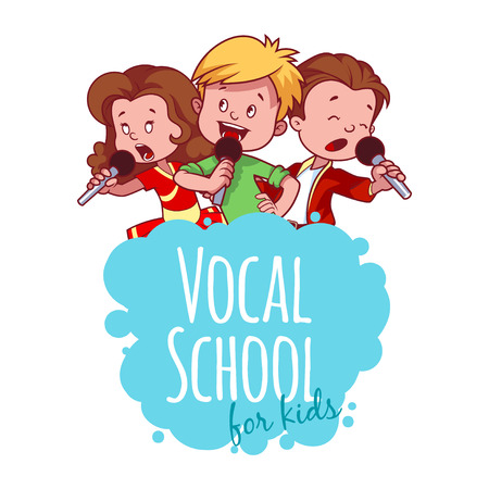 cartoon singing: Logo template for vocal school. Vector clip art illustration on a white background.