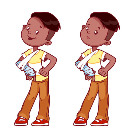 broken arm: Cheerful and sad boy with a broken arm in a cast. Vector illustration on a white background.