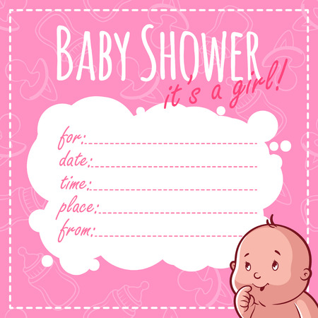baby girl: Baby Shower Card: Its a girl! Blank Baby Shower Invitations for Girl in pink tones
