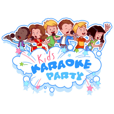 asian: Cartoon children sing with a microphone. Logo template for childrens karaoke party. Vector clip art illustration on a white background.