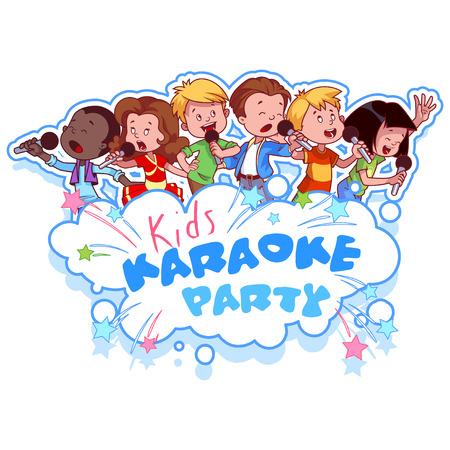 Kreskówki dzieci śpiewa z mikrofonu. Logo szablon dla partii karaoke dla dzieci. Wektor clipart ilustracji na białym tle.