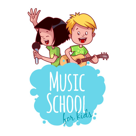 music art: Logo template for music school with two children. Vector clip art illustration on a white background.
