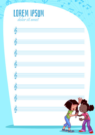 stave: Blank stave for kids with singing girls. Vector illustration. A4 size.