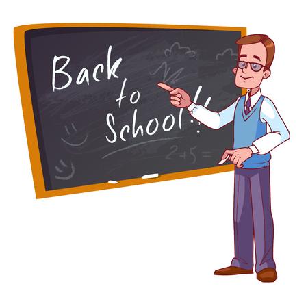학교로 돌아가다. 만화 교사는 학교 보드 근처에 서있다. 흰색 배경에 벡터 일러스트 레이 션. 일러스트