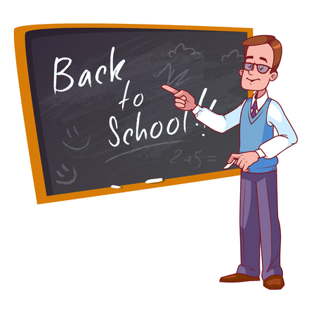 teacher in class: Back to school. Cartoon teacher stands near the school board. Vector illustration on a white background.