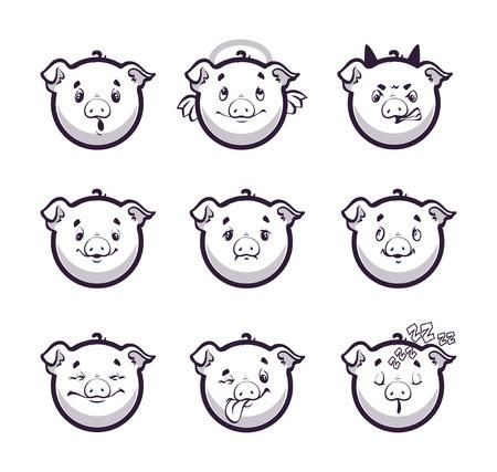 child tongue: Set smiles pig. Monochrome emotions icons. Vector illustration on white background.