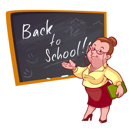 woman standing back: Back to school. Cartoon teacher stands near the school board. Vector illustration on a white background.