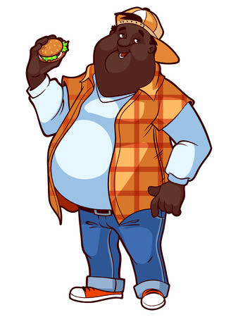belly fat: Fat happy man with a big belly and a hamburger in his hand. Vector illustration on a white background.