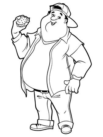 big belly: Fat happy man with a big belly and a hamburger in his hand. Vector illustration on a white background.