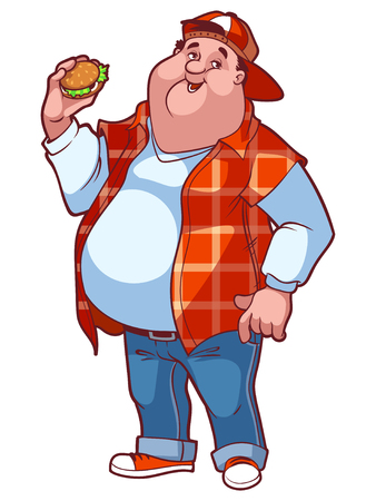junk: Fat happy man with a big belly and a hamburger in his hand. Vector illustration on a white background.