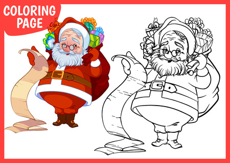 oldman: Coloring page. Happy Santa Claus with a bag of gifts. Vector illustration on white background. A4 size.