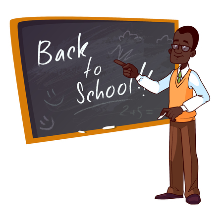 teacher classroom: Back to school. Cartoon African American teacher stands near the school board. Vector illustration on a white background.