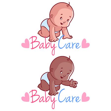 bebe sentado: Dos niños pequeños. Ilustración del vector en un fondo blanco. Cuidado del bebé