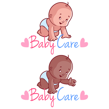 new born baby boy: Two toddler. Vector illustration on a white background. Baby care  Illustration