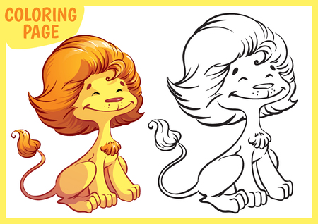 line drawing: Coloring page. Happy golden lion. Vector illustration on white background. A4 size. Illustration