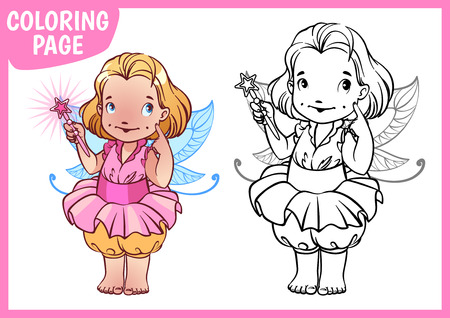 cute cartoon girl: Coloring page. Little girl dressed as a fairy with a magic wand. Vector illustration on white background. A4 size.