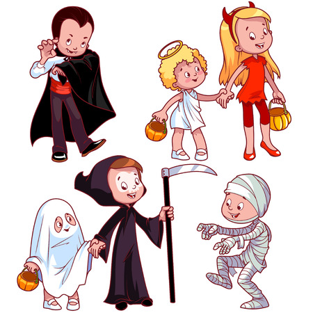 angel cartoon: Children in various costumes for Halloween. Vampire, angel, devil, ghost, death, mummy. Vector illustration on a white background. Illustration