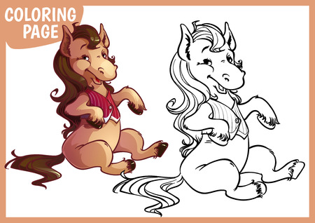 foal: Coloring page. Happy foal in vest. Vector illustration on white background. A4 size.