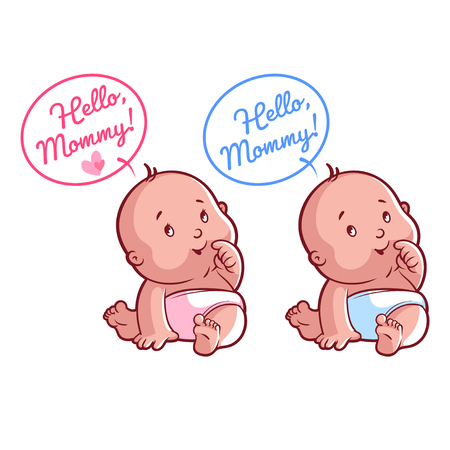 orphan: Two cute toddler in diaper. Card for mom: Hello, Mommy! Vector illustration on a white background.