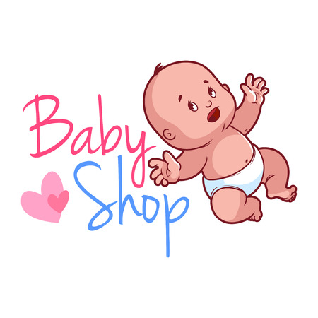 Baby shop. Cute toddler in diaper. Vector illustration on a white background. Stock Illustratie