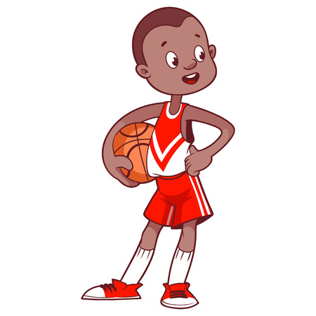 african boys: Cheerful child with the ball. Cartoon vector illustration