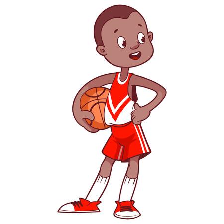 deportistas: Niño alegre con la pelota. Ilustración vectorial de dibujos animados