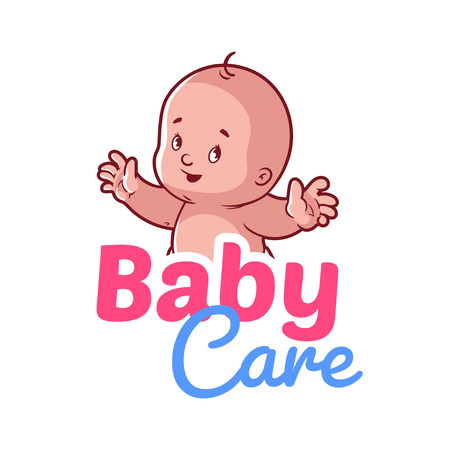 care: Cute toddler. Vector illustration on a white background. Baby care logo Illustration