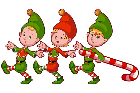 Christmas elves with candy. Vector clip-art illustration on a white background Vectores