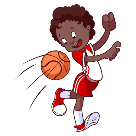 dodge: Cheerful child playing in dodgeball. Cartoon vector illustration.