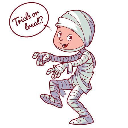 mummified: Boy dressed as a mummy for Halloween. Vector illustration on a white background.