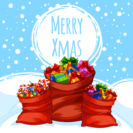 sacks: Christmas card with three gift bags on snow. Vector clip-art illustration.