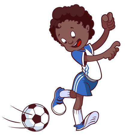Cheerful child playing in football. Cartoon vector illustration.