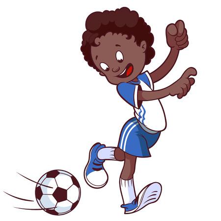 Niño alegre que juega en el fútbol. Ilustración vectorial de dibujos animados.