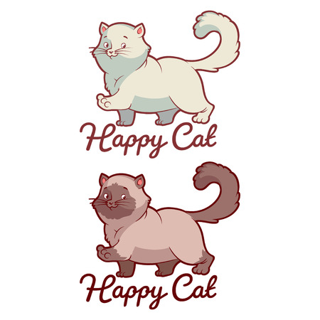 Logo template for pet shop with happy cat. Vector clip-art illustration on a white background. Illustration