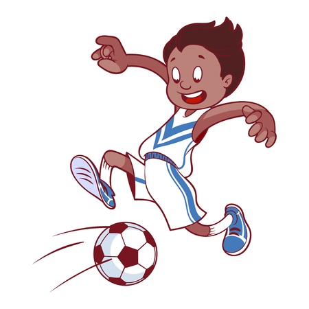 Cheerful child playing in football. Cartoon vector illustration.
