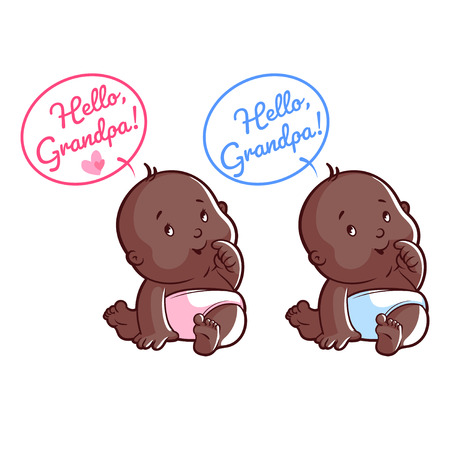 orphan: Two cute African American toddler in diaper. Card for grandpa: Hello, Grandpa! Vector illustration on a white background.