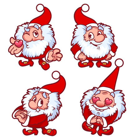 santa claus hats: Christmas gnome in red costume with different emotions. Funny cartoon character. Vector clip-art illustration.