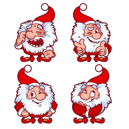 santa cap: Christmas gnome in red costume with different emotions. Funny cartoon character. Vector clip-art illustration.