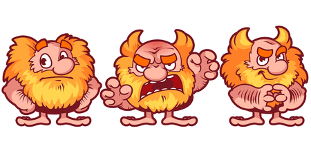 dwarves: Cute red dwarf. The emotions: resentment, anger, deceit. Cartoon character. Vector illustration on a white background.