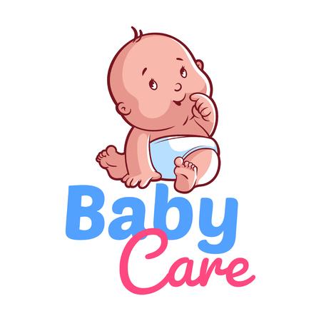 bebe sentado: Niño lindo en pañales. Ilustración del vector en un fondo blanco. Insignia del cuidado del bebé