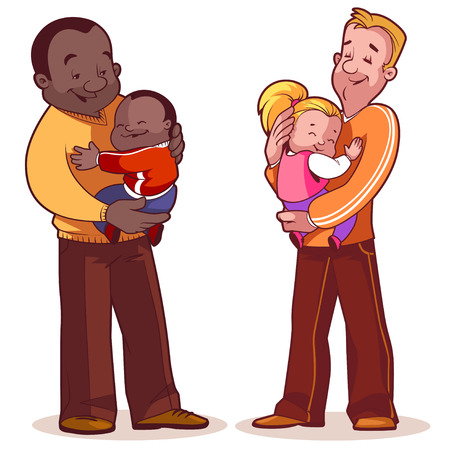 black male: Two fathers with their children in their arms. Element cards for Fathers Day. Vector illustration on a white background.