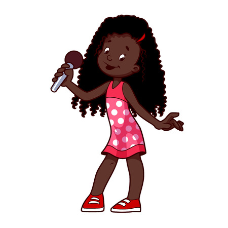 African American girl singing with microphone. clip-art illustration on a white background. Cartoon character.
