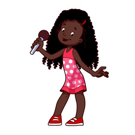 artistas: Niña afroamericana canta con el micrófono. ilustración del clip-arte sobre un fondo blanco. Personaje animado.