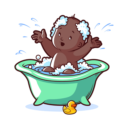 infant bathing: Baby bathing in green bath with foam and rubber duck. Cartoon character on white background.