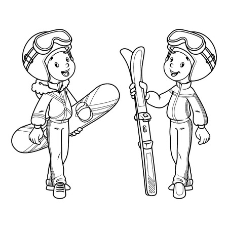 seasons cartoon: Two boys with skis and snowboard in ski suits. clip-art illustration. Coloring book