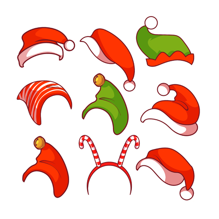 santa claus hats: A diverse collection of Christmas hats.  clip-art illustration.