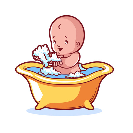 wet girl: Baby bathing in yellow bath with foam. Cartoon character on white background.