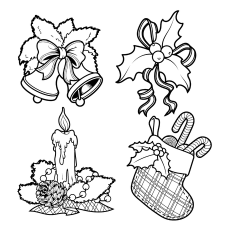 christmas candy: Set of Christmas decorations. Candle, holly, mistletoe, bells, and sock with candy. clip-art illustration.